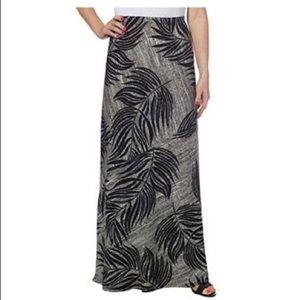 Black and white palm print maxi skirt NWT M